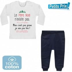 Ensemble bébé pantalon bleu + T-shirt manche longue Le père noel n'existe pas... 3/6 au 9/12 mois cadeau naissance noel neuf