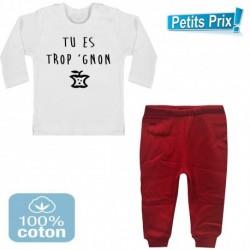 Ensemble bébé pantalon rouge + T-shirt manche longue Tu es trop gnon du 3/6 au 9/12 mois cadeau naissance noel neuf