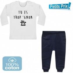 Ensemble bébé pantalon bleu + T-shirt manche longue Tu es trop gnon du 3/6 au 9/12 mois cadeau naissance noel neuf