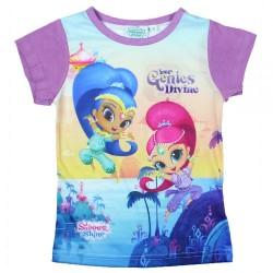 T-shirt manches courtes mauve enfant fille Shimmer et Shine du 2 au 6 ans Idée cadeau anniversaire noel neuf