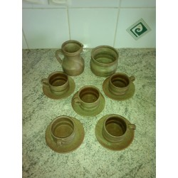 ancien ensemble tasses soucoupes pot a lait sucrier gres veritable be