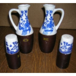 ensemble 4 pièces déco chinoise (sel poivre huile vinaigre) céramique/bois occasion