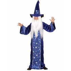 Déguisement magicien étoilé bleu enfant du 4 au 9 ans carnaval anniversaire fete neuf