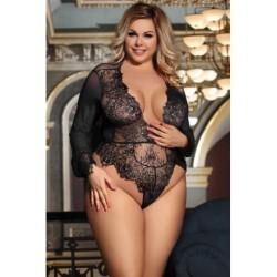 Ensemble Lingerie sexy femme Body string noir en fine dentelle DU XL AU 5XL cadeau st valentin anniversaire neuve