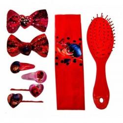 Coffret Miraculous Accessoires cheveux - Bandeau - Brosse - barrettes Lady Bug Miraculous idée cadeau anniversaire neuf