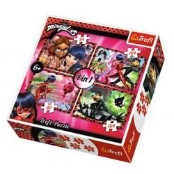 Puzzle 4 en 1 Miraculous fille licence officielle marque Trefl quaité supérieure idée cadeau anniversaire noel neuf