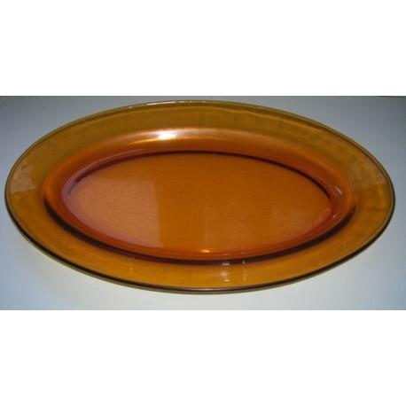 vintage arcopal ancien plat ovale présentation transparent marron