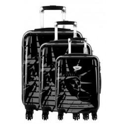Valise rigide cabine American Revival ABS & Polycarbonate 4 Roues noir 3 dimensions au choix neuve