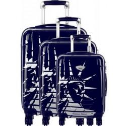 Valise rigide cabine American Revival ABS & Polycarbonate 4 Roues Bleu 3 dimensions au choix neuve