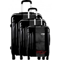Valise rigide cabine American Revival ABS & Polycarbonate 4 Roues noir v02 3 dimensions au choix neuve