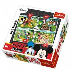 Puzzle 4 en 1 Mickey et Minnie licence officielle Disney jeux société enfant idée cadeau anniversaire noël neuf