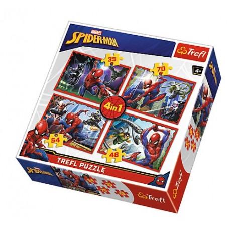 Puzzle 4 en 1 Spiderman licence officielle Marvel comics jeux société enfant idée cadeau anniversaire noël neuf