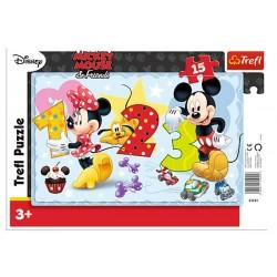 Puzzle 15 pièces Comptons ensemble Mickey et Minnie Disney marque TREFL enfant jeux société idée cadeau anniversaire noel neuf