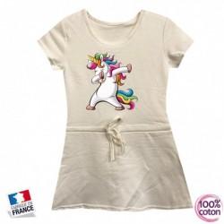 Robe sport en coton pour enfant LICORNE DAB blanche du 4 au 14 ans vêtement idée cadeau anniversaire neuve