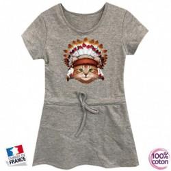 Robe sport en coton pour enfant Chat indien grise du 4 au 14 ans vêtement idée cadeau anniversaire neuve