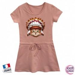 Robe sport en coton pour enfant Chat indien rose du 4 au 14 ans vêtement idée cadeau anniversaire neuve