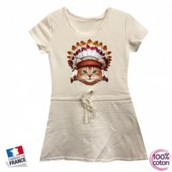 Robe sport en coton pour enfant Chat indien blanche du 4 au 14 ans vêtement idée cadeau anniversaire neuve