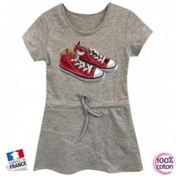 Robe sport en coton pour enfant Basket grise du 4 au 14 ans vêtement idée cadeau anniversaire neuve