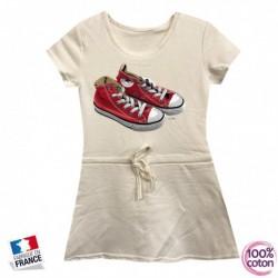 Robe sport en coton pour enfant Basket blanche du 4 au 14 ans vêtement idée cadeau anniversaire neuve