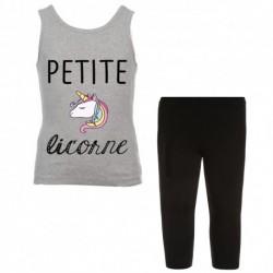 Ensemble débardeur + legging court gris Petite licorne du 4 au 14 ans idée cadeau anniversaire neuve
