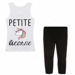 Ensemble débardeur + legging court blanc Petite licorne du 4 au 14 ans idée cadeau anniversaire neuve