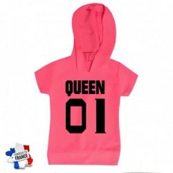 T shirt Top fille à capuches rose Queen 01 du 4 au 10 ans vêtement enfant idée cadeau anniversaire neuf