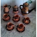 ANCIEN SERVICE THE CAFE TERRE CUITE BARBOTINE DECO NOIRE MARRON BE