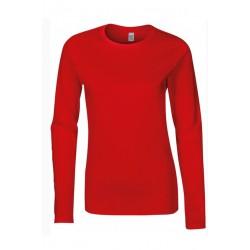 T shirt manche longues femme ou ados MARQUE GILDAN ROUGE du S au XXL vêtement neuf