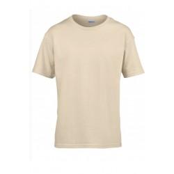T shirt manches courtes garcon MARQUE GILDAN ivoire du 3/4 au 12/14 ans vêtement enfant neuf