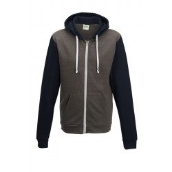 Sweat-shirt veste à capuche zippé Retro marque AWDIS gris/marine DU XS AU XXL vêtement homme neuf