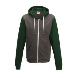 Sweat shirt veste à capuche zippé Retro marque AWDIS Gris/vert DU XS AU XXL vêtement homme neuf