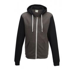 Sweat shirt veste à capuche zippé Retro marque AWDIS Gris/noir DU XS AU XXL vêtement homme neuf