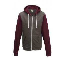 Sweat shirt veste à capuche zippé Retro marque AWDIS Gris/bordeaux DU XS AU XXL vêtement homme neuf
