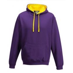 Sweat shirt à capuche CONTRASTÉE marque AWDIS violet/jaune DU S A XXL vêtement MIXTE neuf