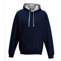 Sweat shirt à capuche CONTRASTÉE marque AWDIS marine/gris DU S A XXL vêtement MIXTE neuf