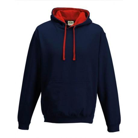 Sweat shirt à capuche CONTRASTÉE marque AWDIS marine/rouge DU S A XXL vêtement MIXTE neuf