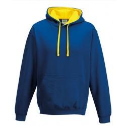 Sweat shirt à capuche CONTRASTÉE marque AWDIS bleu/jaune DU S A XXL vêtement MIXTE neuf
