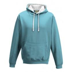 Sweat shirt à capuche CONTRASTÉE marque AWDIS bleu ciel /blanc DU S A XXL vêtement MIXTE neuf