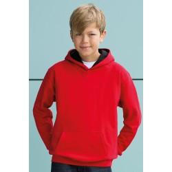 SWEAT SHIRT A CAPUCHE CONTRASTE enfant mixte MARQUE AWDIS rouge du 3/4 au 12/13 ans vêtement qualité supérieur neuf