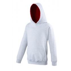 SWEAT SHIRT A CAPUCHE CONTRASTE enfant mixte MARQUE AWDIS gris du 3/4 au 12/13 ans vêtement qualité supérieur neuf