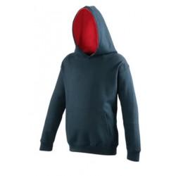 SWEAT SHIRT A CAPUCHE CONTRASTE enfant mixte MARQUE AWDIS bleu Marine du 3/4 au 12/13 ans vêtement qualité supérieur neuf