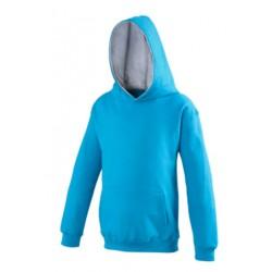 SWEAT SHIRT A CAPUCHE CONTRASTE enfant mixte MARQUE AWDIS Turquoise du 3/4 au 12/13 ans vêtement qualité supérieur neuf