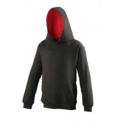 SWEAT SHIRT A CAPUCHE CONTRASTE enfant mixte MARQUE AWDIS Noir du 3/4 au 12/13 ans vêtement qualité supérieur neuf