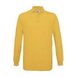 POLO Tshirt PIQUÉ HOMME ADOS MANCHES LONGUES jaune DU S A XXL MARQUE B&C SAFRAN LSL vêtement neuf