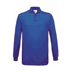 POLO Tshirt PIQUÉ HOMME ADOS MANCHES LONGUES bleu royale DU S A XXL MARQUE B&C SAFRAN LSL vêtement neuf