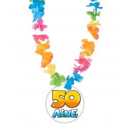 Badge médaille humour 50 ans avec collier Hawai divers couleurs idée cadeau anniversaire neuf