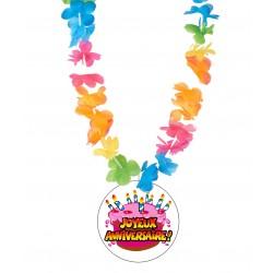 Badge humour joyeux anniversaire avec collier Hawai divers couleurs idée cadeau anniversaire neuf