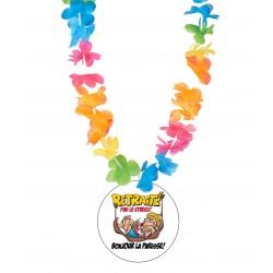 Badge humour la retraite v01 avec collier Hawai divers couleurs idée cadeau neuf