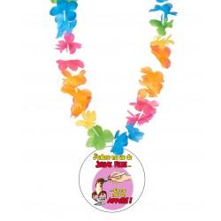 Badge humour enterrement vie de jeune fille v01 avec collier Hawai divers couleurs mariage idée cadeau neuf