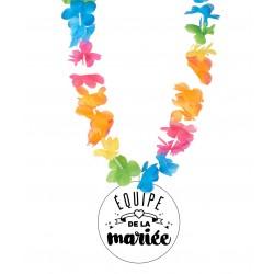Badge équipe de la mariée enterrement vie de jeune fille avec collier Hawai divers couleurs mariage idée cadeau neuf